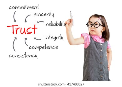Cute little girl wearing business dress and writing trust building concept. White background.