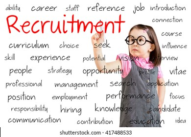 Cute little girl wearing business dress and writing recruitment concept. White background.