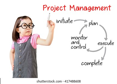 Cute little girl wearing business dress and writing project management workflow. White background.