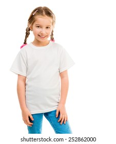 cute little girl in a white T-shirt on a white background