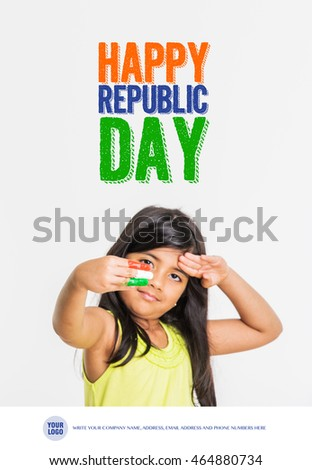 Cute Little Girls Fingers Painted With Indian National Tricolour Flag Isolated Over White Background
