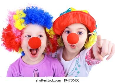 cute little girls playing clowns