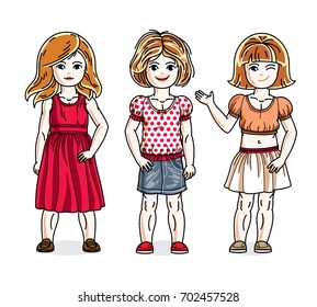 Cute little girls standing in stylish casual clothes. kids illustrations set. Childhood and family lifestyle cartoons.