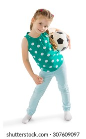 Cute little green-eyed girl with hair braided into a bun holds the mouse a soccer ball . Girl playing with boys in football-Isolated on white background