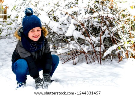 f3d260095 Cute Little Happy Boy Outdoor Winter Stock Photo (Edit Now ...