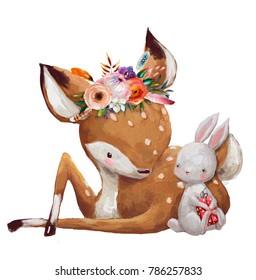 cute little hare with little deer
