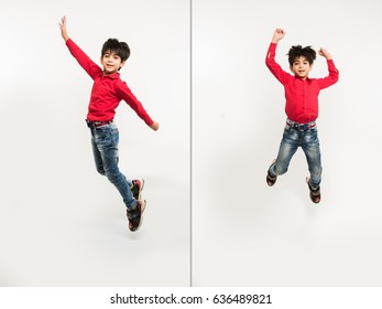 Cute little indian/asian kid/boy jumping over white background, isolated showing full body