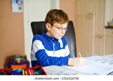 ba2ddab171d Cute Little Kid Boy Glasses Home Stock Photo (Edit Now) 649048891 ...