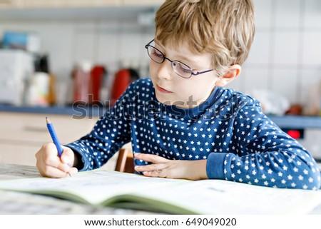 77bcd1d8c9d Cute Little Kid Boy Glasses Home Stock Photo (Edit Now) 649049020 ...