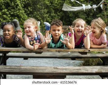 Cute little kids having fun together