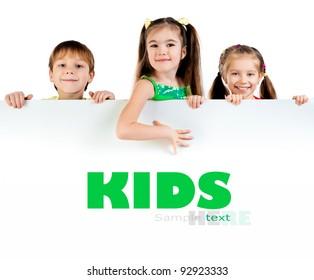 Cute little kids ower a white background