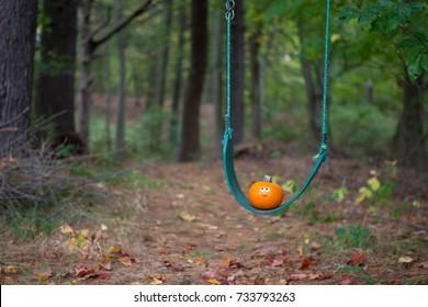 Cute little pumpkin on a swing