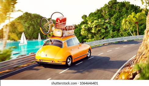 Cute little retro car with suitcases and bicycle on top goes by the road along beautiful harbor between mountain in summer day. Unusual 3d illustration. Travel and vacation concept