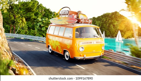 Cute little retro car with suitcases and surf on top goes by the road along beautiful harbor between mountains in summer day. Unusual 3d illustration. Travel and vacation concept