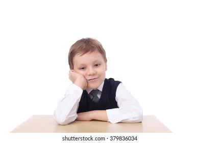 cute little school boy closeup