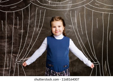 cute little schoolgirl against chalkboard, with drawn curtains