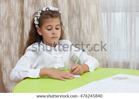 Cute Little Schoolgirl Pondered Beautiful Girl On The Open Book Child Had A Serious
