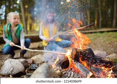 Cute little sisters roasting hotdogs on sticks at bonfire. Children having fun at camp fire. Camping with kids in fall forest. Family leisure with kids at autumn.