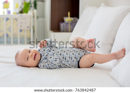 Cute Little Smiling Newborn Baby Boy Stock Photo Edit Now