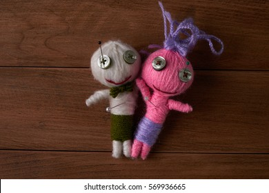 Cute Little Voodoo Dolls with pins in eyes.Top veiw