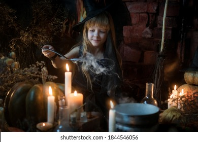 A cute little witch cooks a potion over a bonfire of herbs and mushrooms. Beautiful baby girl in witch costume with Halloween decoration