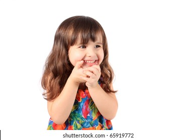 Cute little year old girl smiling like a shy girl on a white background