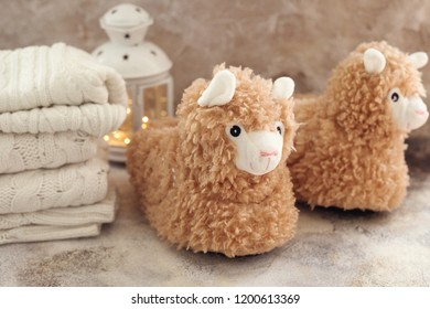 cute llama fluffy trendy slippers soft pastel colours beige