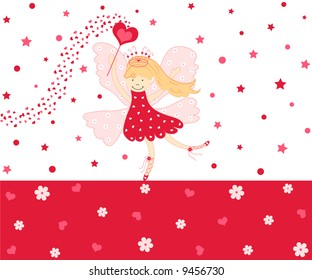 Cute love fairy with hearts and flowers