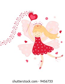 Cute love fairy with hearts and flowers on white background