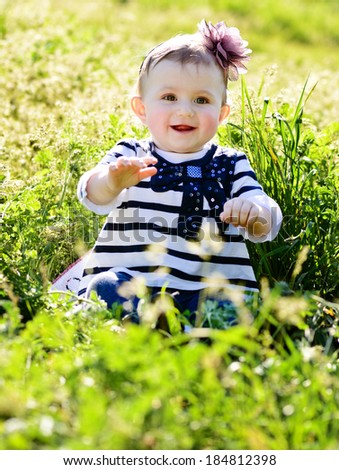 Cute Lovely Baby Green Grass Stock Photo Edit Now 184812398
