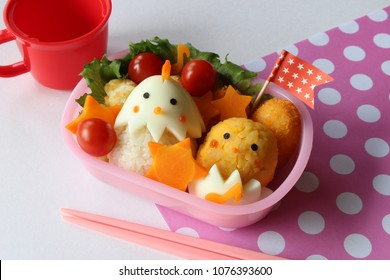 Cute lunch of chicken and chick