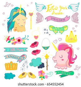 Cute magic collection with unicorn princess, ribbons, fairy wings, crowns and flowers.