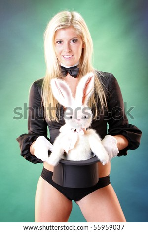 cute magician bunny popping out her stock photo edit now 55959037