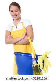 A cute maid cleaner woman with cleaning supplies