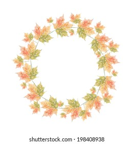 Cute Maple leaf pattern on white background