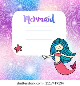 Cute mermaid invitation card notes print design. Illustration with magic unicorn color palette background