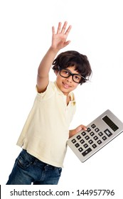 Cute mixed race boy with big calculator. Isolated on white studio background.