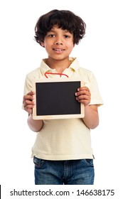 Cute MIxed Race Boy Holding a Blank Chalkboard. Isolated on white background.