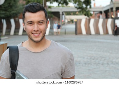Cute mixed race person male smiling isolated with copy space