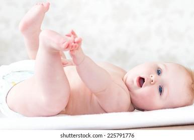 cute naked baby close-up