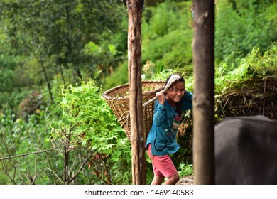 an cute nepali girl carrying nepali bag doka this image was taken in the gagalphedi 1 kathmandu bagmati nepal on 7 july 2018