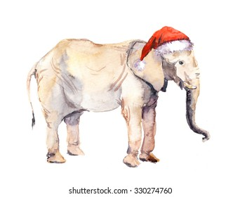 Cute new year elephant in red santa's hat. Watercolor christmas animal