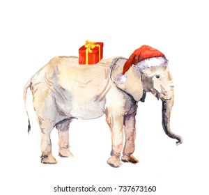 Cute new year elephant in red santa's hat with present box. Watercolor christmas animal