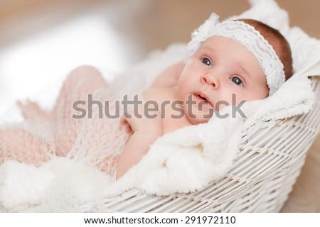 a9546defb1a Cute Newborn Baby Girl Sleeping Basket Stock Photo (Edit Now ...