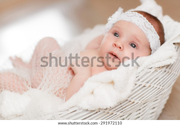 Cute Newborn Baby Girl Sleeping Basket Stock Photo Edit Now 291972110