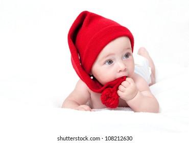 Cute newborn baby in a hat