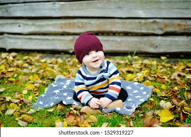 Cute newborn baby in warm wool knitted hat and sweater sitting on the blanket in the beauty autumn park