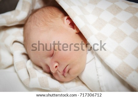 Cute Newborn Baby Wrapped Blanket Child Stock Photo Edit Now
