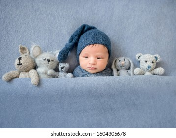 Cute newborn boy lying under blue blanket with plush toys near him, top view