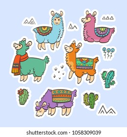 Cute outline llamas. Ink raster illustration. For children and coloring books. Furry animals collection